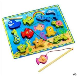 Ahşap Oyuncak Balık Tutma Oyunu + İpe Dizme Oyunu Eğitici Oyuncak