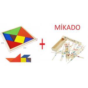14 Cm Ahşap Tangram Ve Ahşap Mikado Oyun Çubukları