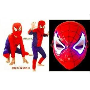 Örümcek Adam Spider-Man Kostümü 6-7 Yaş+Işıklı Maske ( Parti Kostümü Yerli Üretim )