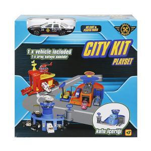 Garaj Set Mini Polis/İtfaiye/Binek 1 Araçlı