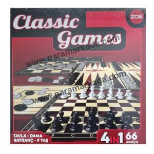 Satranç Tavla Dama 9 Taş 4in1 Oyun Seti Classic Games