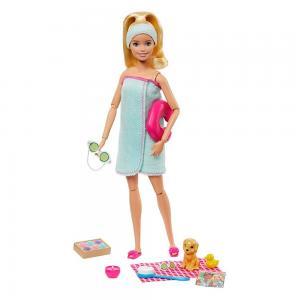 Barbie Wellness Barbienin Spa Günü Bebekleri Sarı GKH73-GJG55
