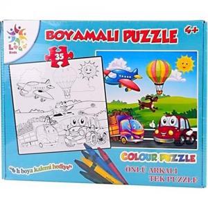 Laço Boyamalı Puzzle Uçaklı Arabalı 35 parça