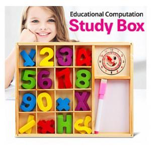 Ahşap Sayılar Matematik Hesaplama Kutusu Kalem-Saatli 20*25 Cm