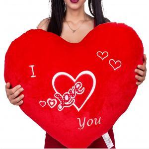 Dev Boy Nakışlı Kalp Yastık 100 Cm Peluş Yazılı Kalp Yastık