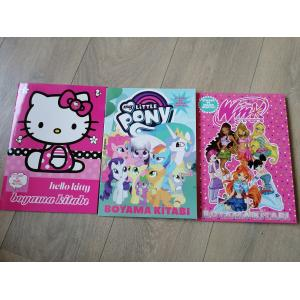 Hello Kity + Pony+Winx 3 ADET Boyama Kitabı Sticker ve Maske Hediyeli