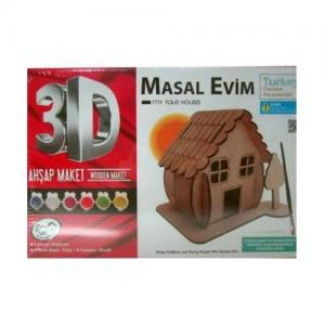 KumToys 3D Masal Evim Ahşap Maket Boyama