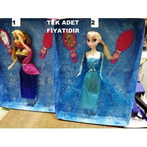 Elsa Ve Anna Aynalı Taraklı Benzeri Bebek Tek Adet 27 cm